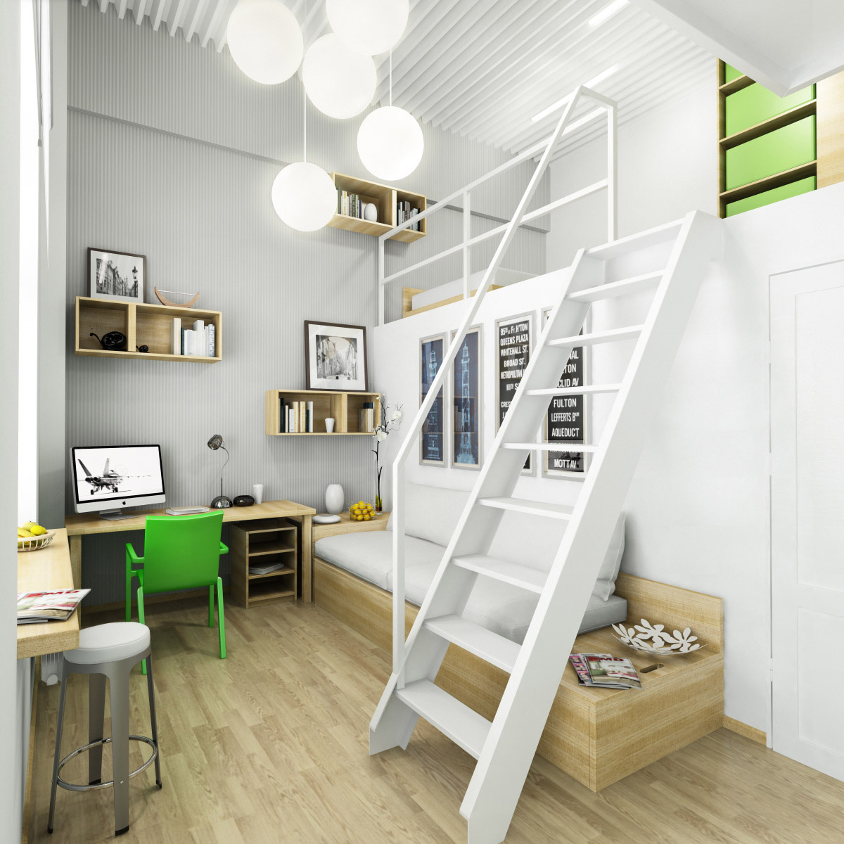 Teen workspaces for White bed interior design