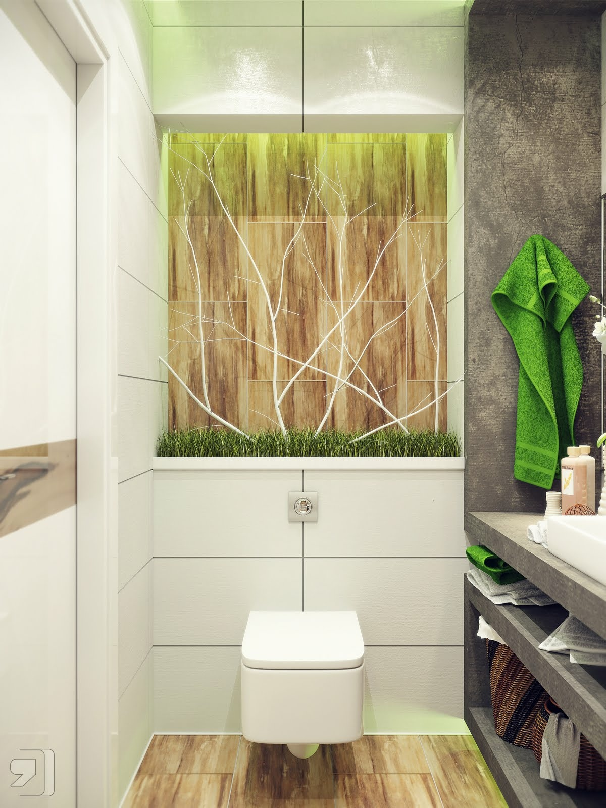 Http Www Home Designing Com 2012 08 Small Bathroom Design Green White Nature Inspired Bathroom