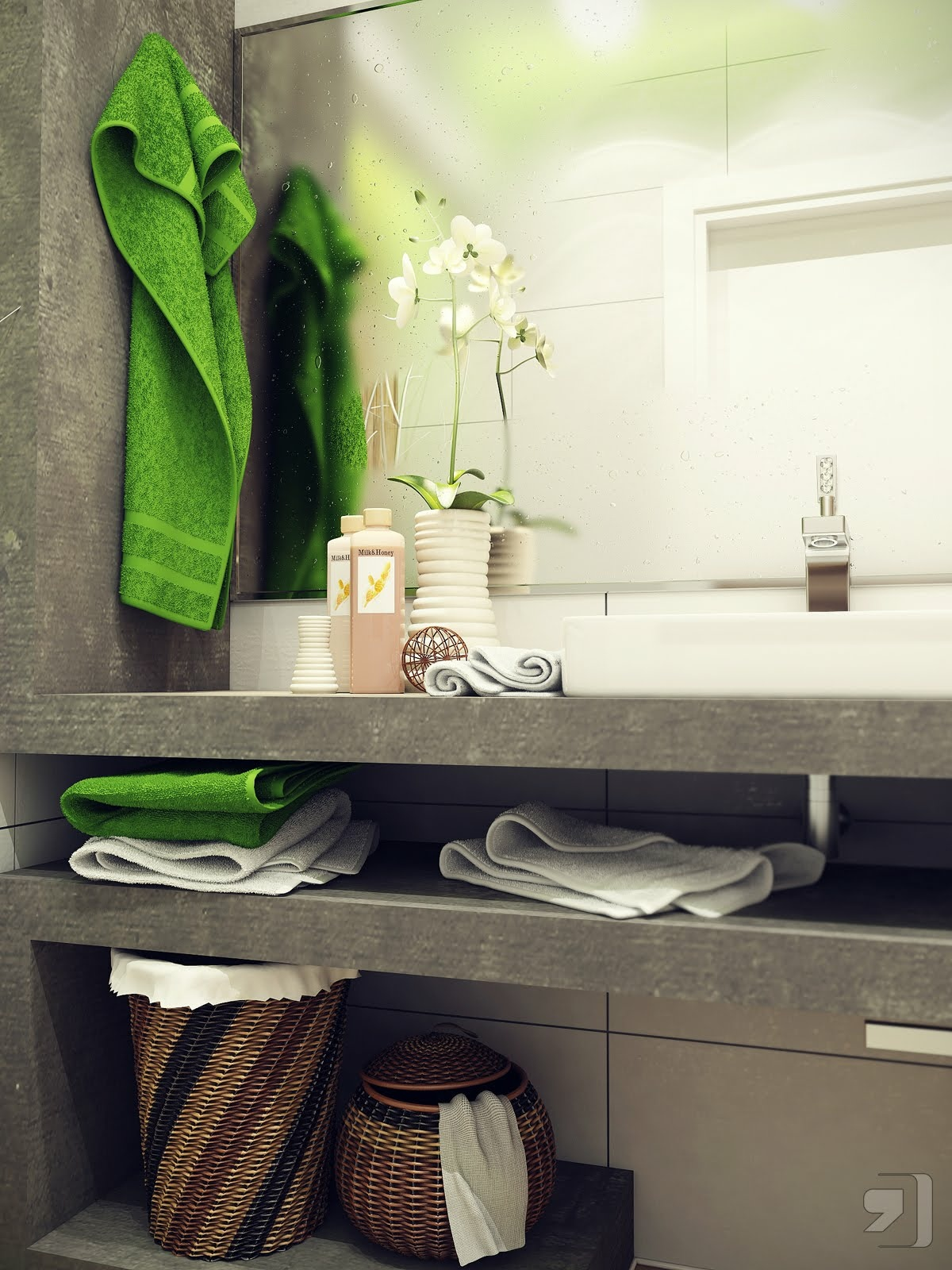Green white small bathroom design interior design ideas for Small bathroom designs 2012