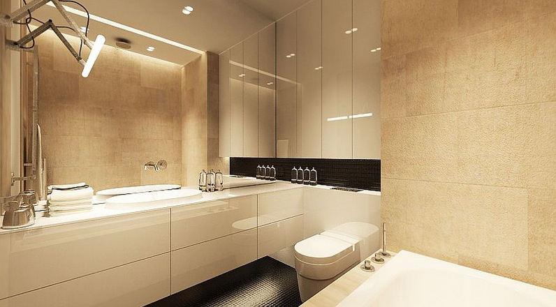 Fresh neutral interior design schemes from katarzyna for Modern bathroom colors ideas photos