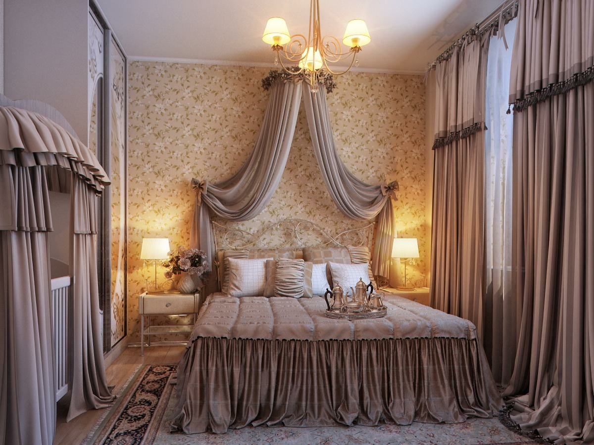 Bedrooms with traditional elegance for Bedroom curtain designs photos