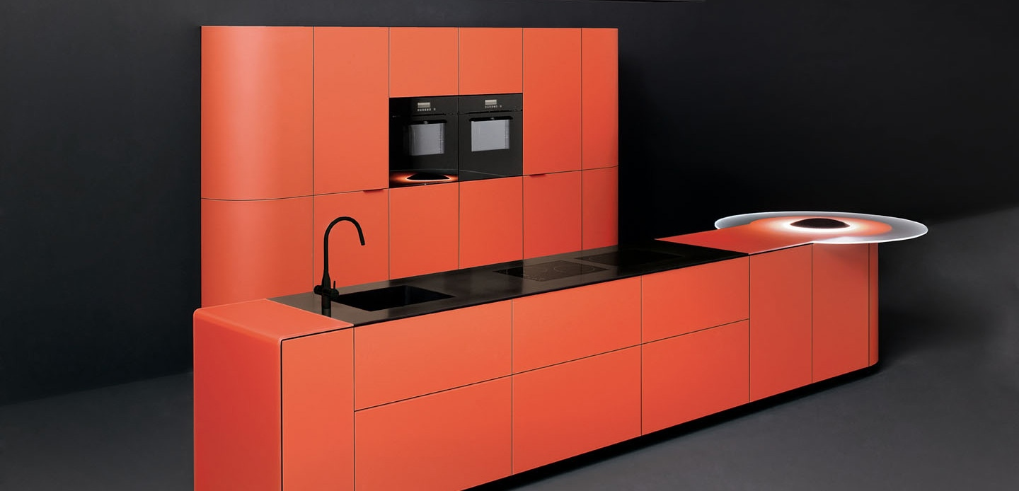 Orange Kitchen Orange Colored Curved Kitchen Interior Design Ideas