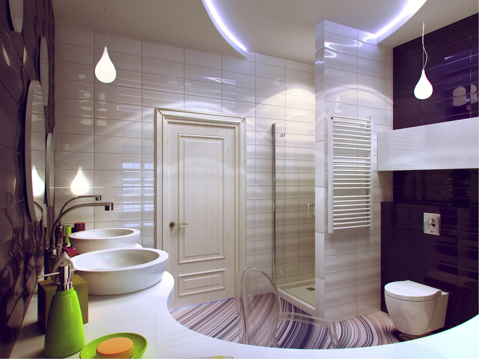 Purple White Bathroom Decor