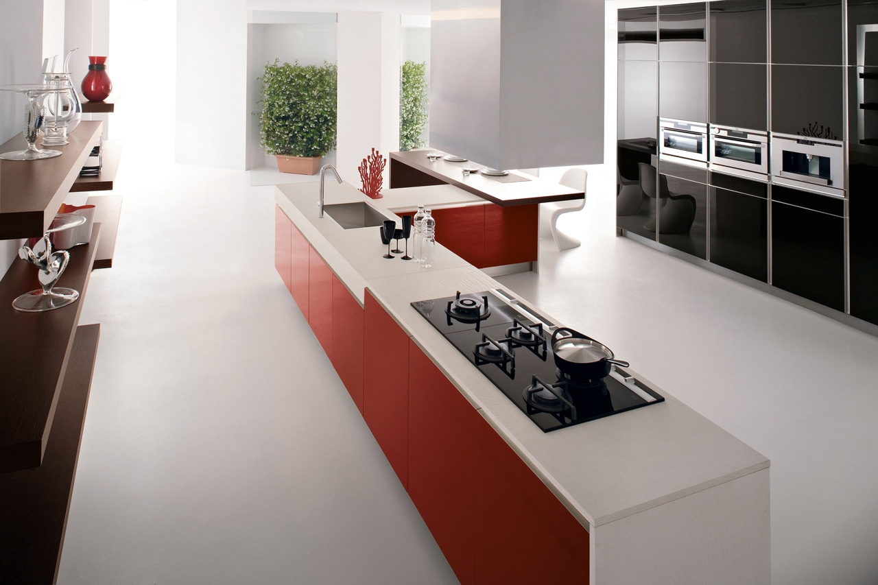 Red White Kitchen Red Kitchen Units White Corian Worktop Interior Design Ideas