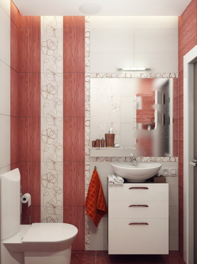 Red white bathroom decor