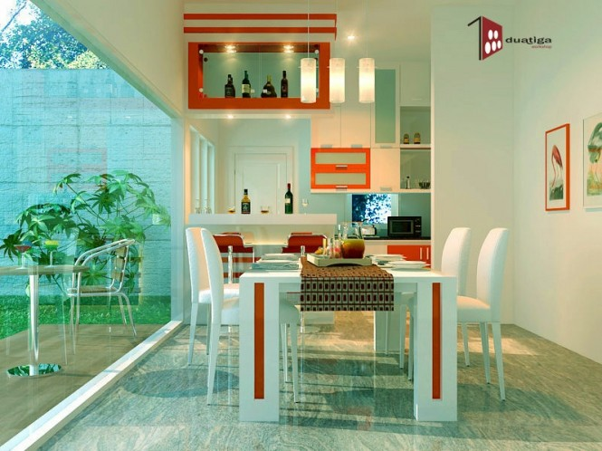 Via Franky WinataA tight color thread running through both a dining suite and adjacent units results in a highly stylized and cohesive look. Keep any culinary accessories that are not perfectly matching well hidden so as not to disturb the strictly two-tone balance.