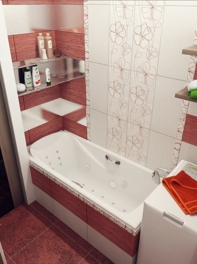 Like Architecture   Interior Design  Follow Us. Red white floral bathroom tile   Interior Design Ideas