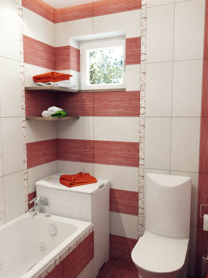 Bathroom Design Ideas With Stripes ~ Red white stripe bathroom interior design ideas