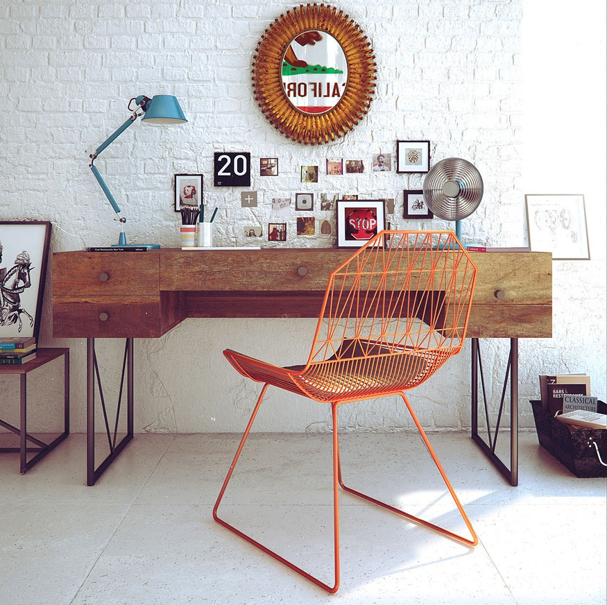 Retro workspace decor interior design ideas - Retro office desk ...