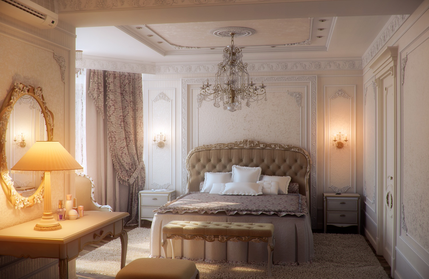 Bedrooms with traditional elegance for Beautiful bed designs