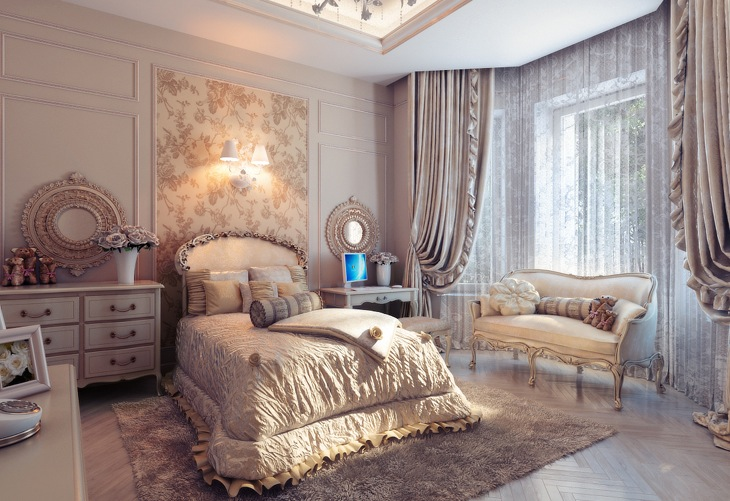 Bedrooms with traditional elegance for Sophisticated feminine bedroom designs