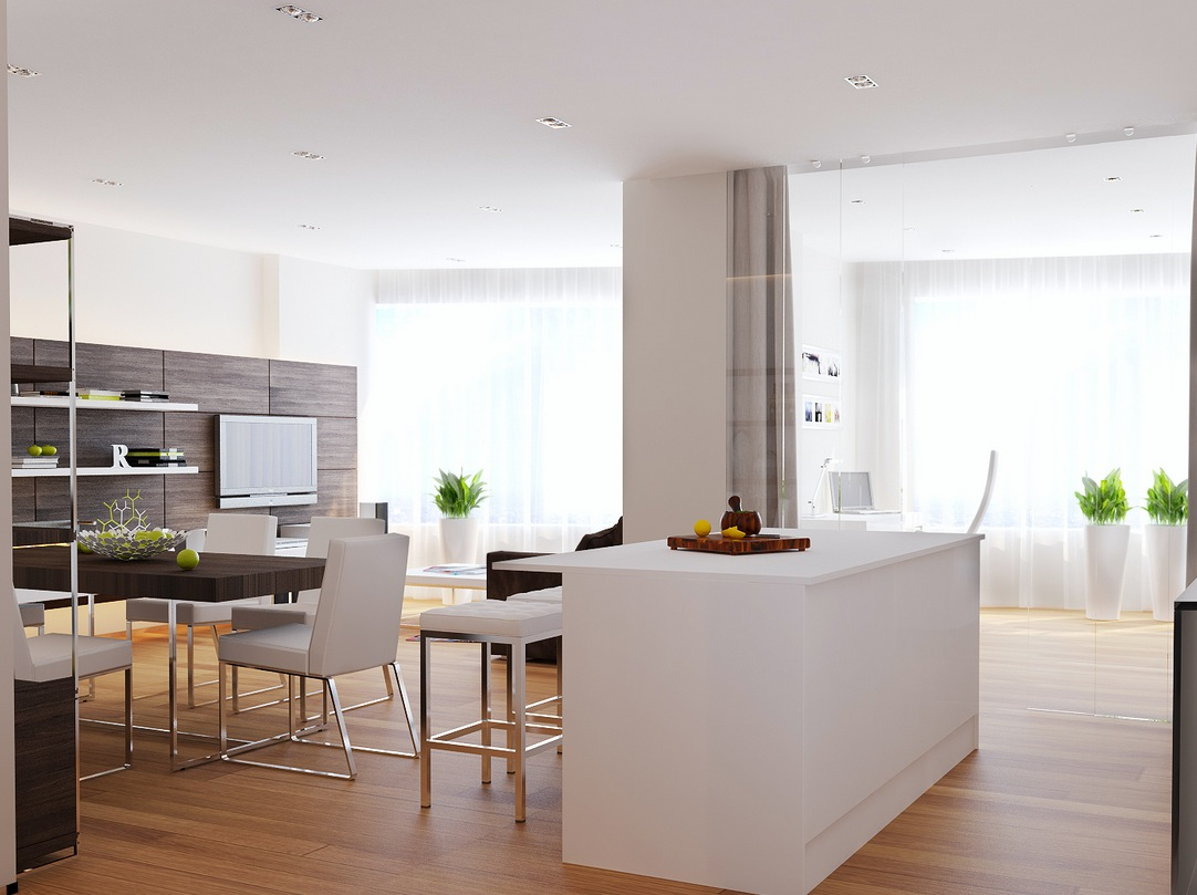 Walnut white kitchen diner interior design ideas for Walnut kitchen designs