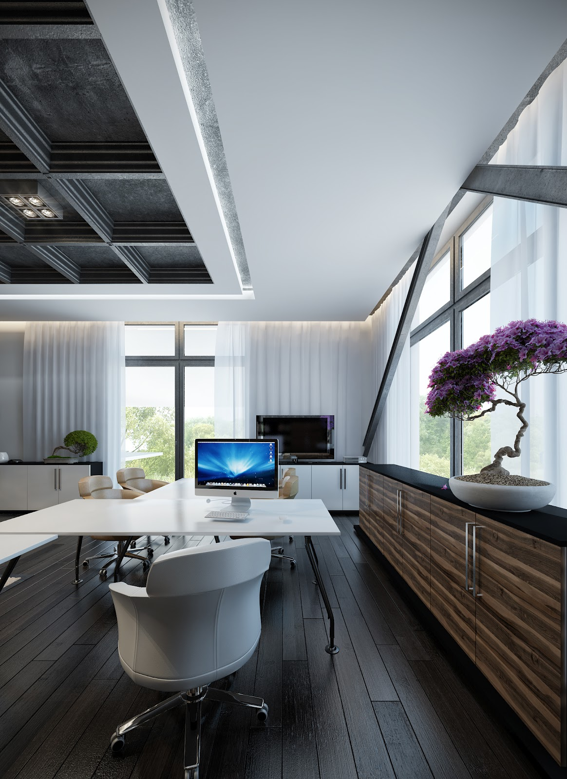 White home office layout interior design ideas Interior design home office ideas