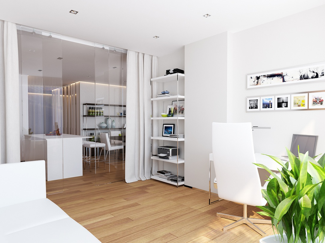 White home office space interior design ideas White home design ideas