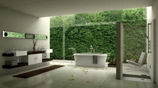 By Christoph MensakIf you are lucky enough to have a garden on the other side of your bathroom wall, then why not install a run of floor to ceiling glazing to allow you to enjoy the view right from your tub?