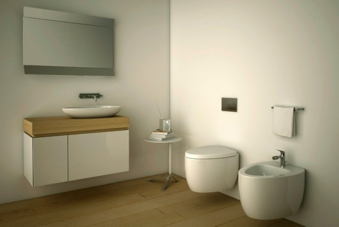 Wall mounted sanitaryware takes the floating concept of furniture throughout the entire bathroom.