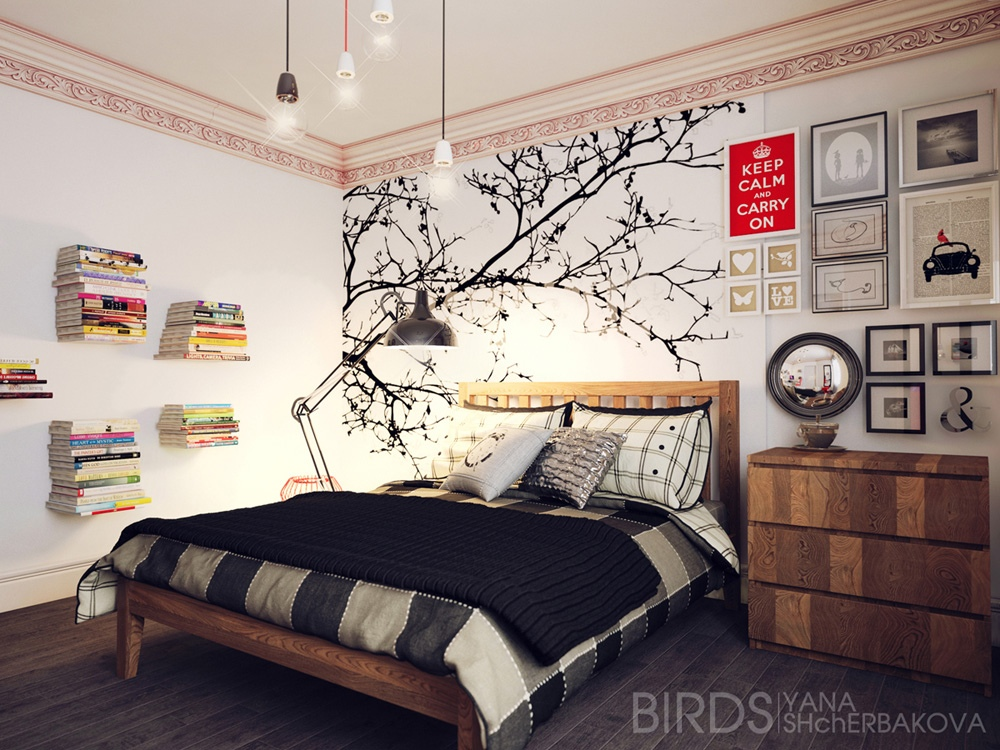 Modern bedroom ideas for Black and white vintage bedroom ideas