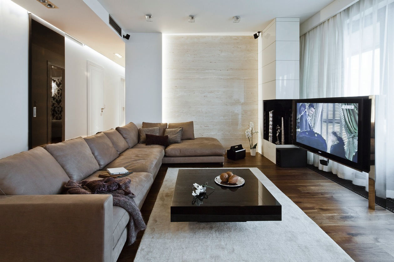 Sleek and sumptuous poland apartment for Lounge room design ideas
