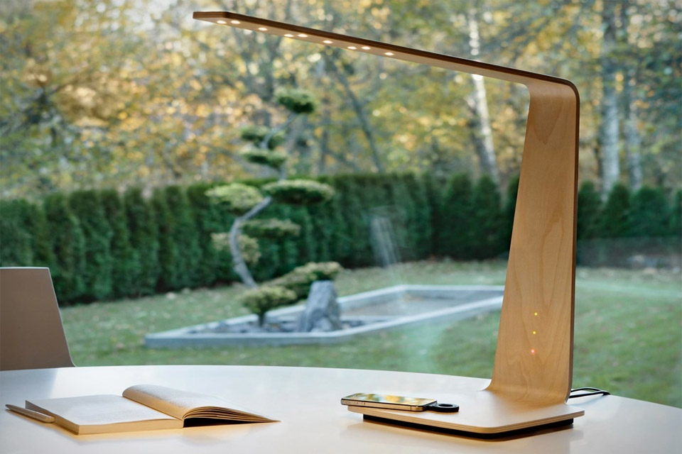 Wooden desk lamp with phone charger