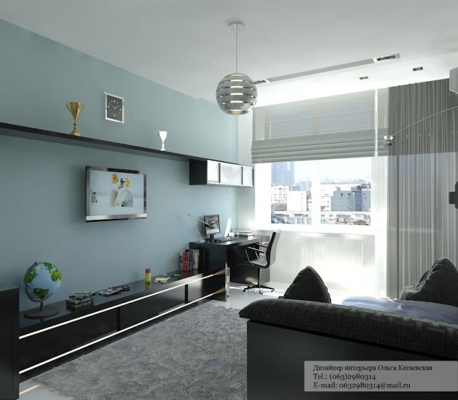 Black blue living room