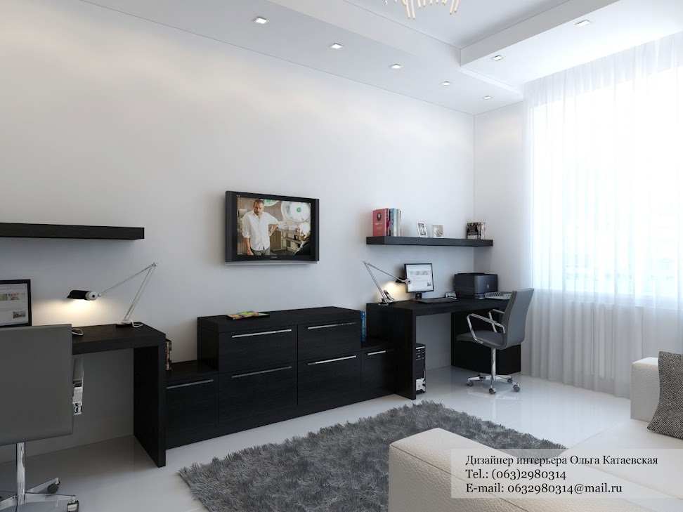 Black desk white home office interior design ideas White home design ideas