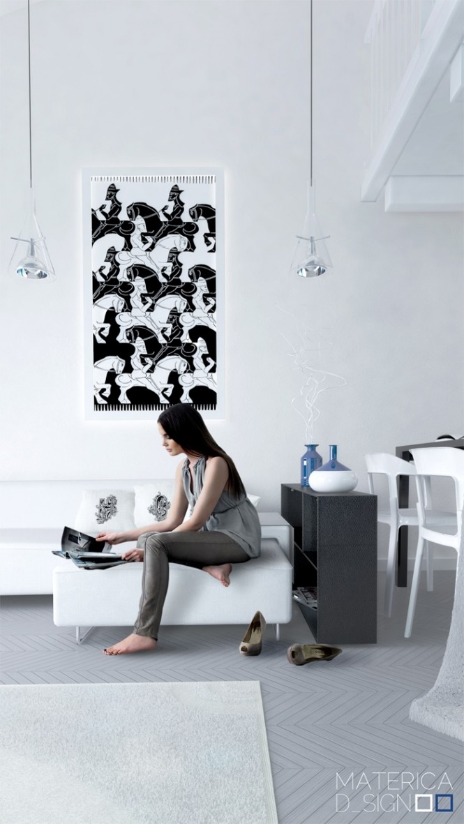 A monochrome décor scheme is always striking and relatively simple to achieve. The greatest thing about starting off with a basic black and white base is that if you become bored with your two-tone lifestyle it is extremely easy to add accent colors to, and you can go as bright as you like without fear of clashing!