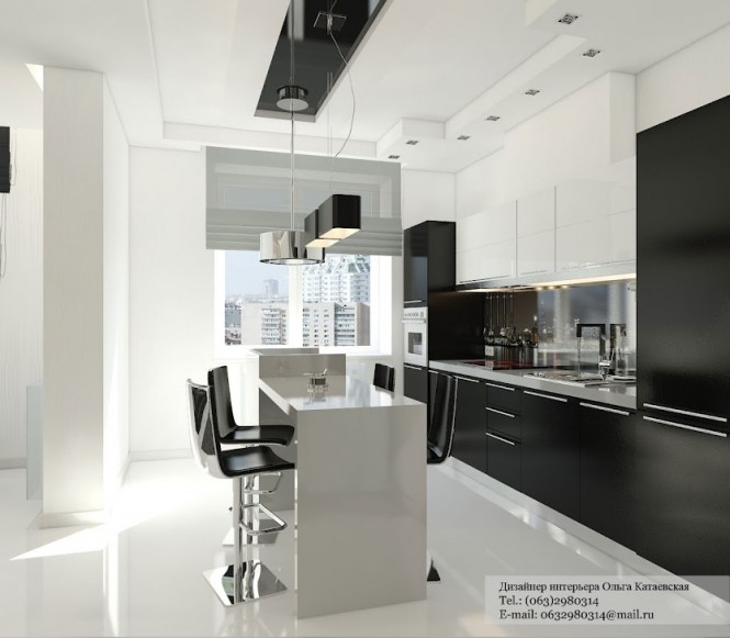 A careful mixture of black and white units keeps the cabinetry in this kitchen from becoming too dominant.