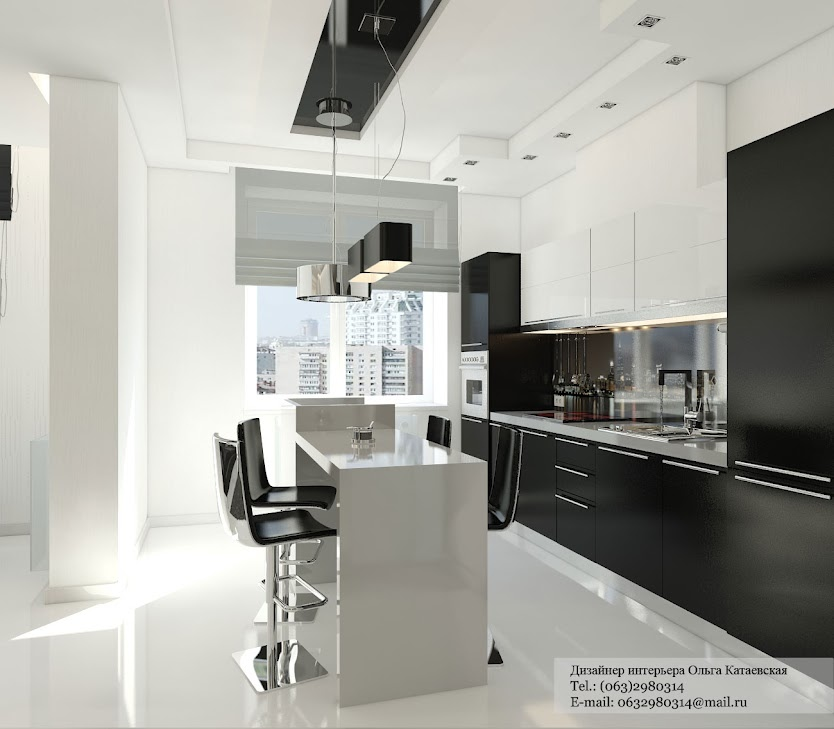 Careful Mixture Of Black And White Units Keeps The Cabinetry In This