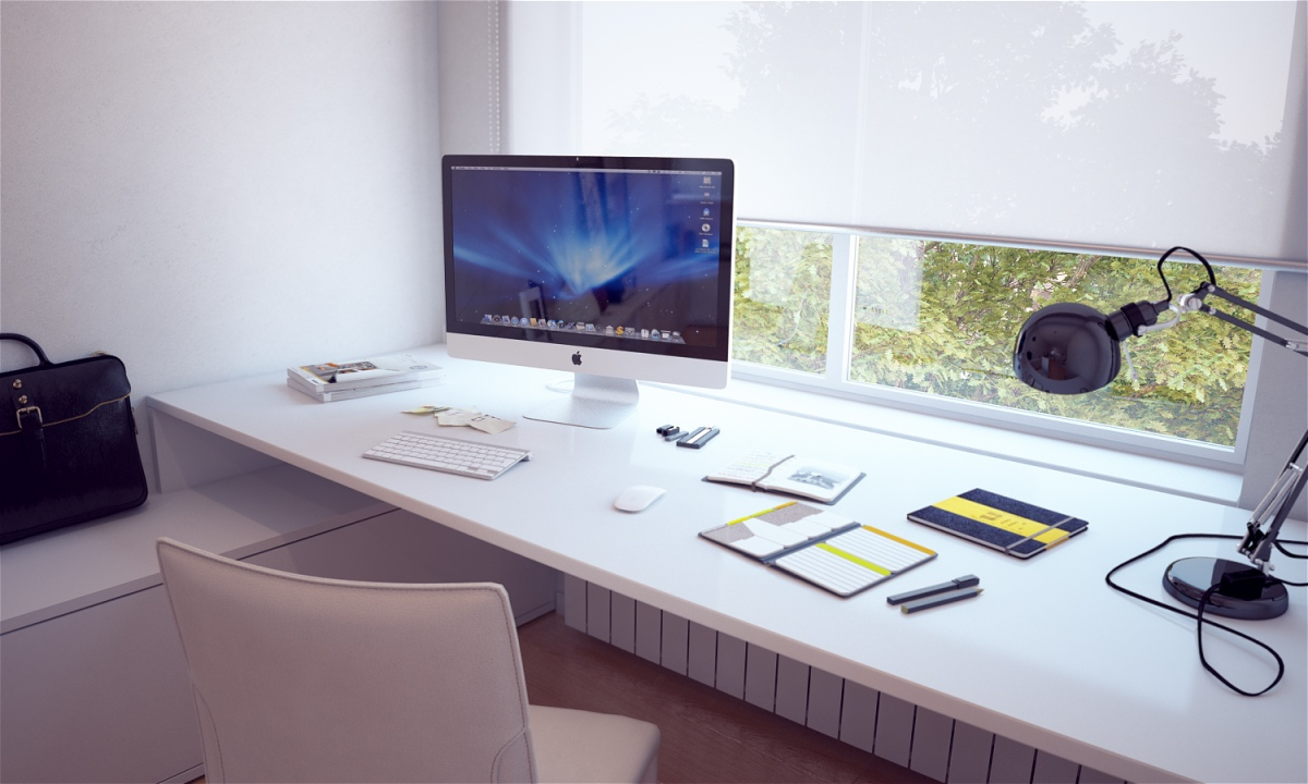Built in white desk interior design ideas Computer office interior design