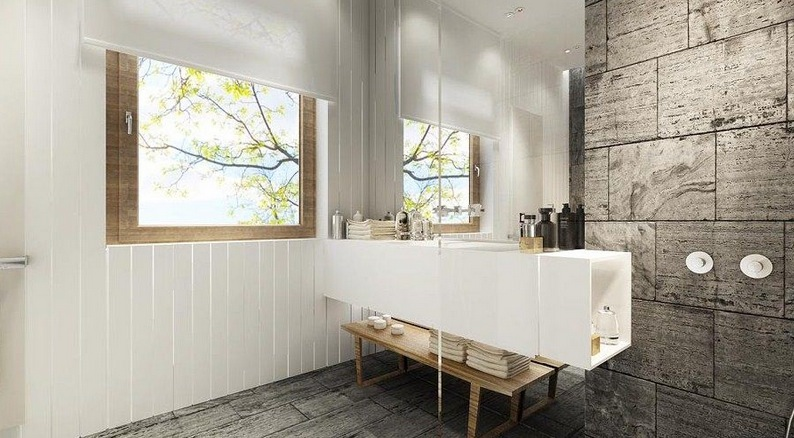 The Natural Materials In This Bathroom Play Beautifully Against Each