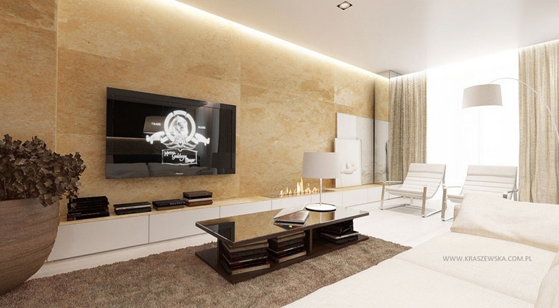 Crisp and contemporary home designs - Living room with cream walls ...