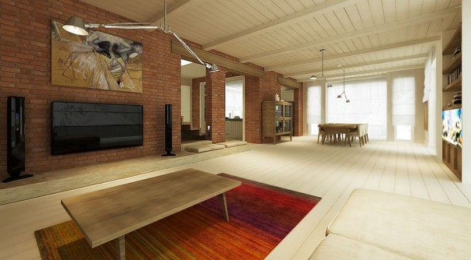 The color story spanning this vast lounge plays along with the ruddy hues of the exposed brick wall rather than fighting against it.
