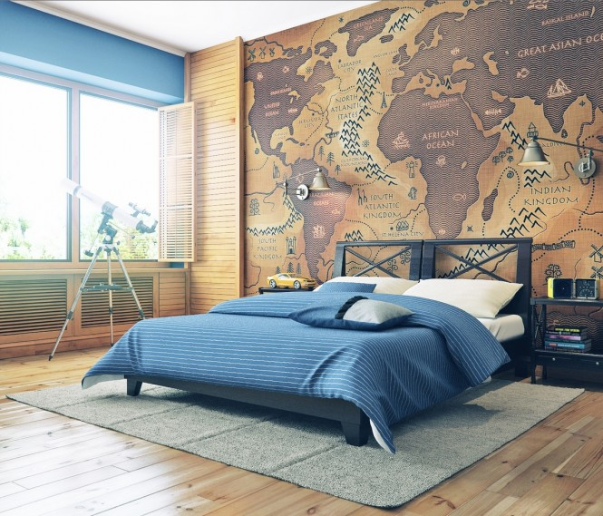 Via Armen GevorgyanCheck out this oversized map as a headboard feature, and dream of all the places you'll go… zzzzz.