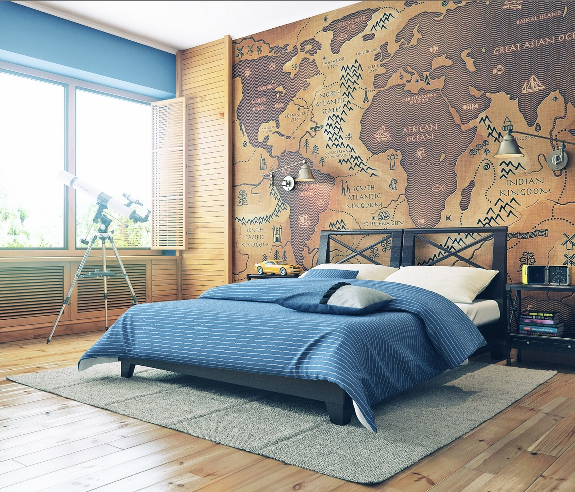 Map Wall Decor Ideas : Giant map feature wall interior design ideas