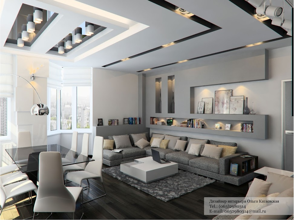 Contemporary cutaways make this ceiling a feature all on its own, but ...
