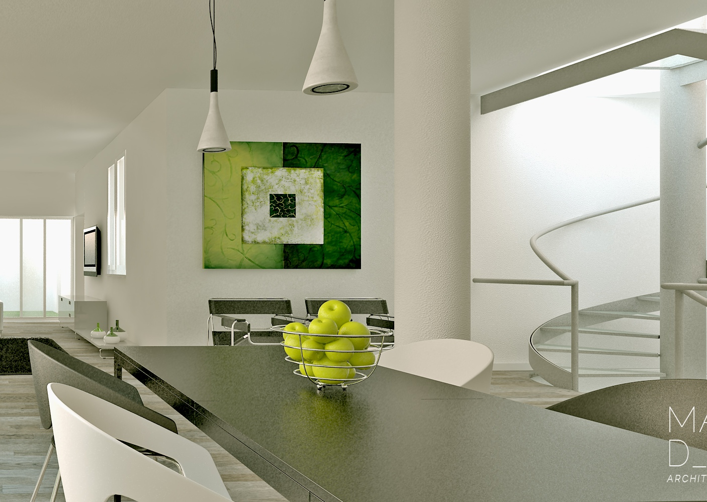 Green white gray dining room interior design ideas for Contemporary interior design ideas