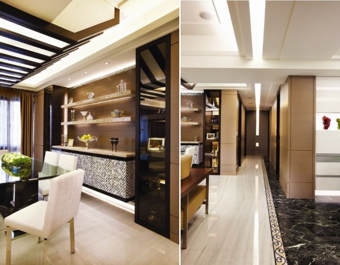 The main building materials on this project were stained oak, stretch fabric, retro gold leaf, marble, shell collage, and imported wallpaper, all mixed together to form a look that would suit the discerning dwellers who are of professions such as university professors, and design pursuits.