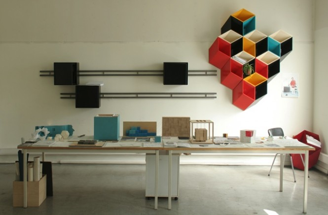 An unusual storage system doubles up as art thanks to an optical illusion.