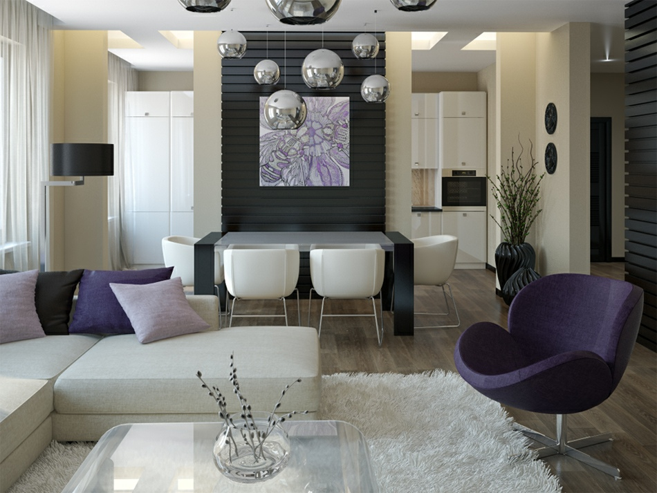 purple white living room diner interior design ideas