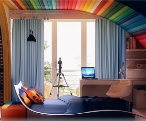 Modern kid 39 s bedroom design ideas for Rainbow kids room
