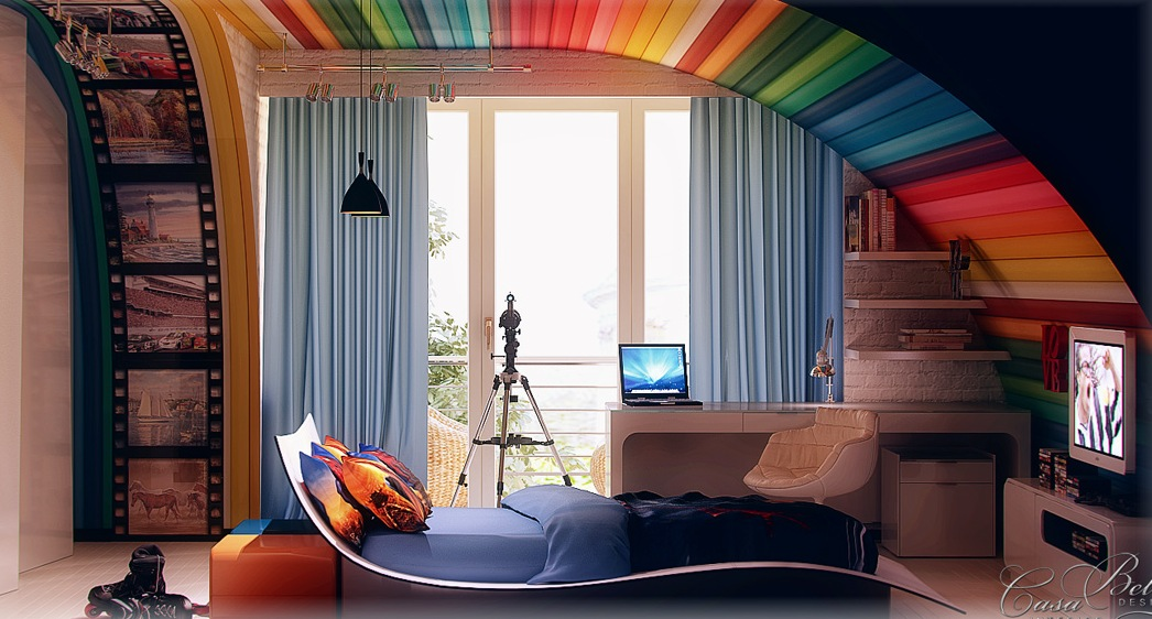 Colorful kids rooms for Rainbow kids room