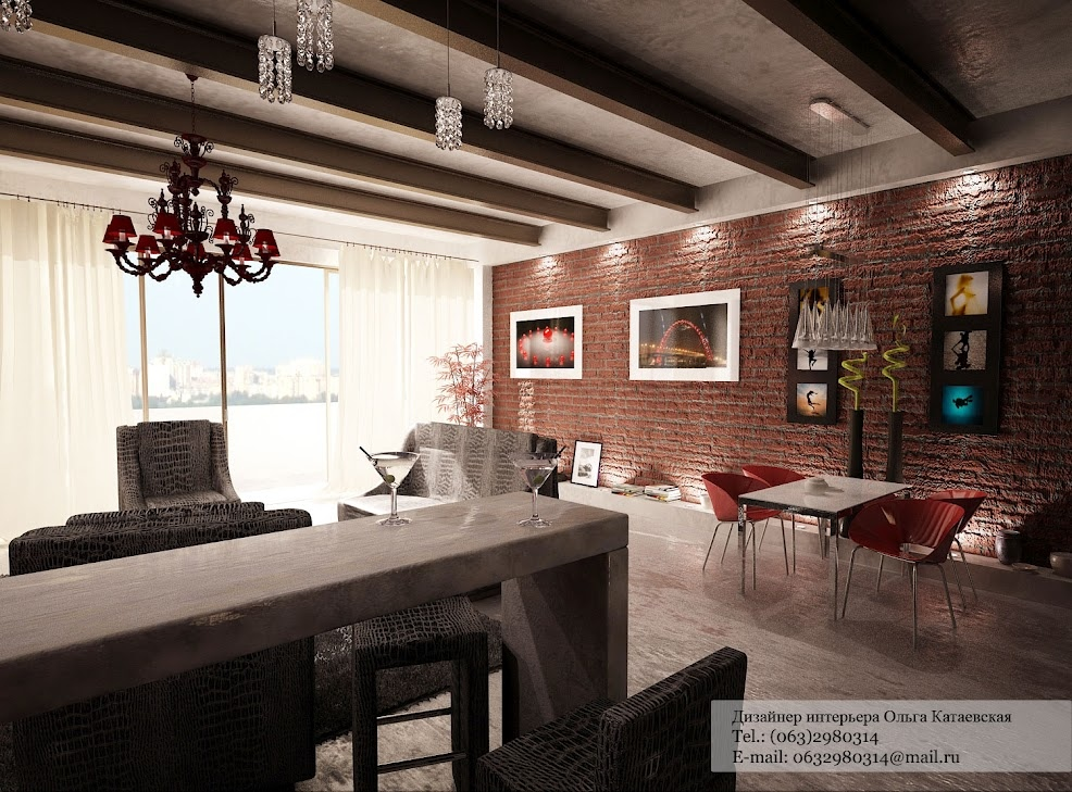 Red exposed brick wall interior design ideas for Interior brick wall designs