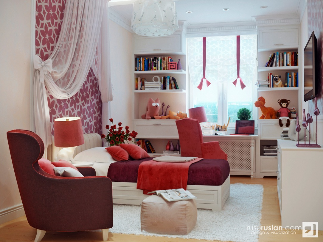 Red white bedroom decor interior design ideas for Room interior design for teenagers