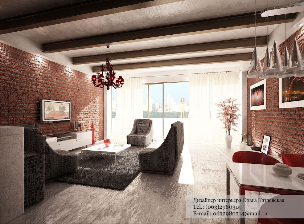 Red white gray living room interior design ideas - Gray and red living room ideas ...