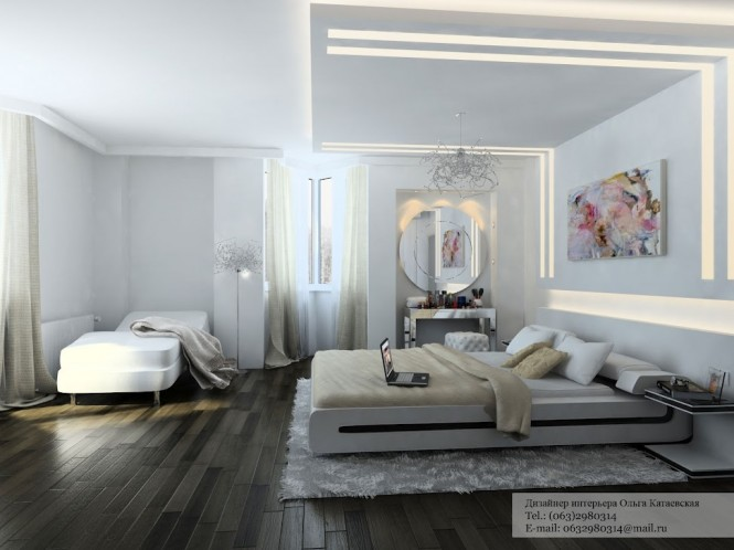 A dynamic strip lighting feature adds edge to a romantic bedroom scheme, and creates a practical line of illumination.