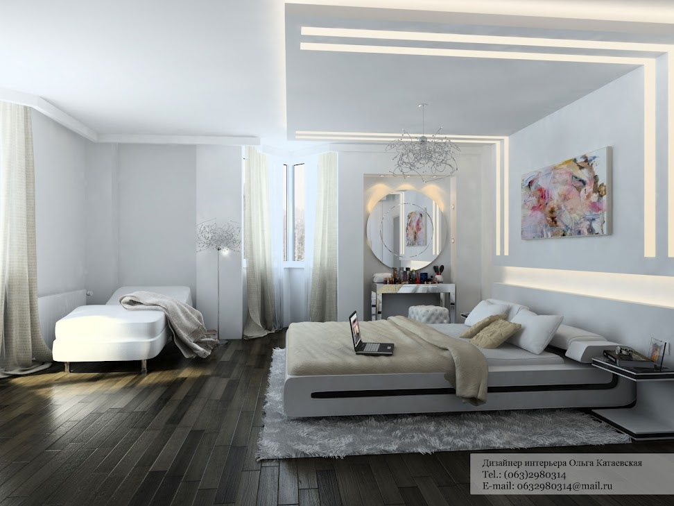 romantic bedroom scheme and creates a practical line of illumination