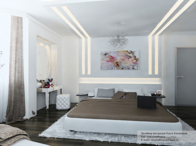 White brown contemporary  bedroom