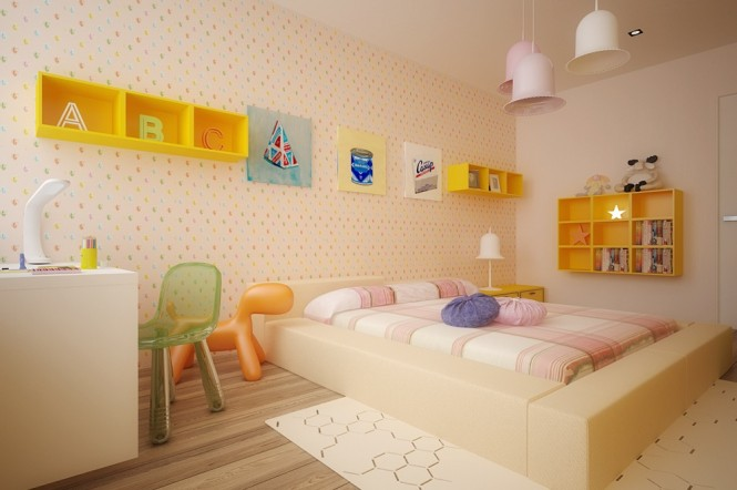 Yellow kids room furniture
