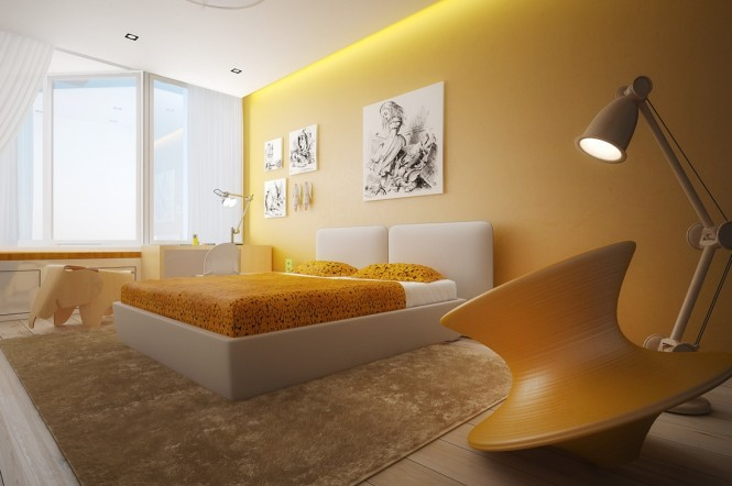 Yellow white bedroom color scheme