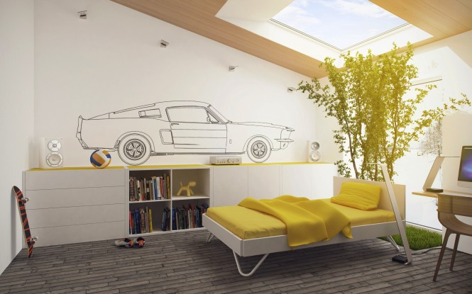 In the children's bedroom, a 'mat' of grass grows right from the floor, forming a base around a leafy tree that creates a shady extended headboard feature under a sunny skylight. Here the natural elements are juxtaposed with a hi-tech mural of a car plan along one entire wall, and adjacent computer equipment.